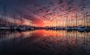 landscape, yacht, sunrise