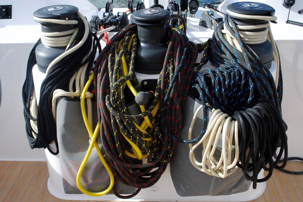 ropes, winches, sail