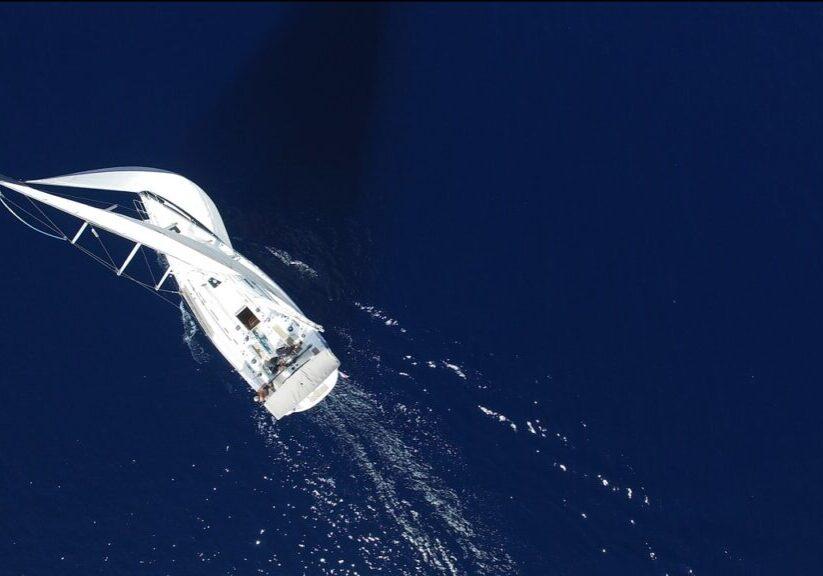 bird's eye view, yacht, sea